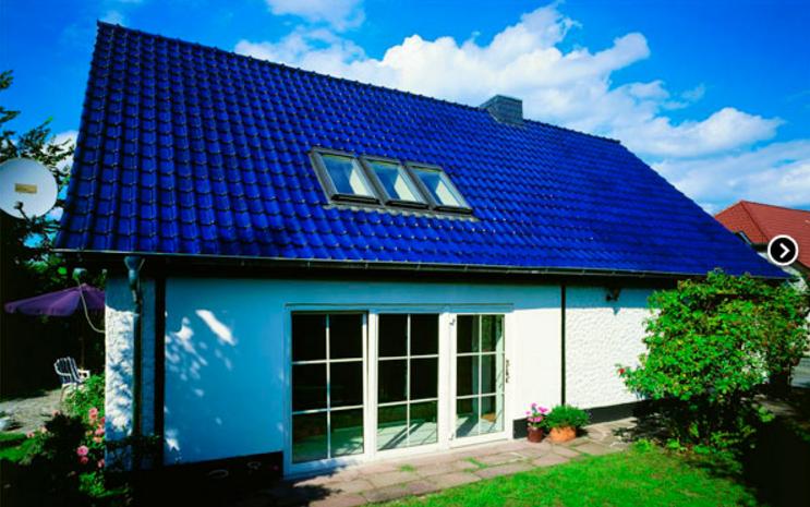 металлочерепица синяя фото домов последнее время