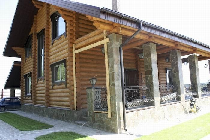 дом скандинавия из оцилиндрованного бревна
